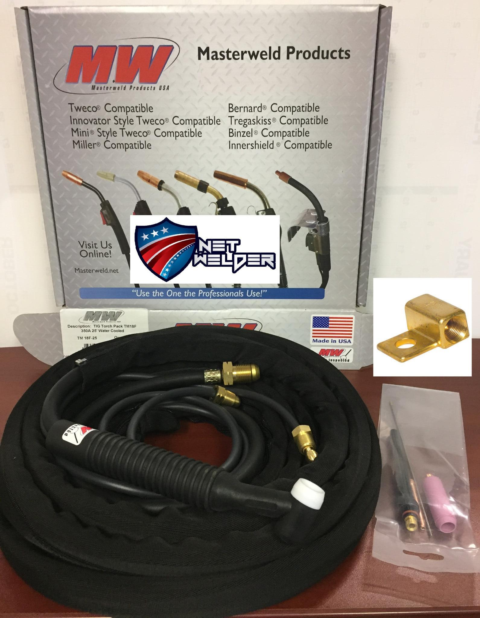 """Masterweld WP20-25 /""""TIGMASTER/"""" Torch Water-Cooled 250AMP Made in USA"""