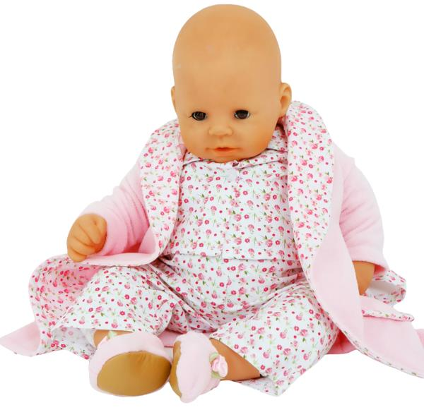 DOLLS FLOWER TRIM DRESSING GOWN MATCHING PJS + SLIPPERS FOR 46CM ...