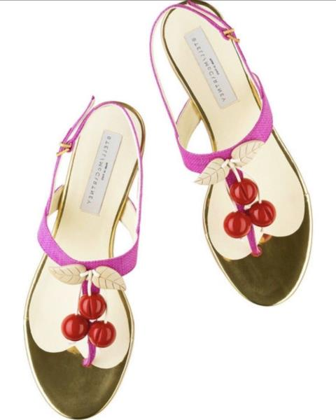 Stella McCartney Pink Gold Cherry Flats Thong Sandals NEW size 39.5 (US 9)