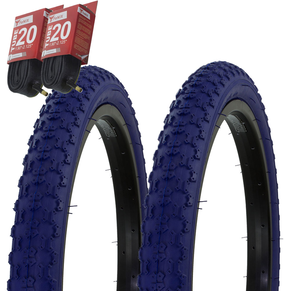 "1PAIR Bicycle Bike Tires /& Tubes 20/"" x .1.75/"" Blue//Gum Side Wall BMX COMP3"