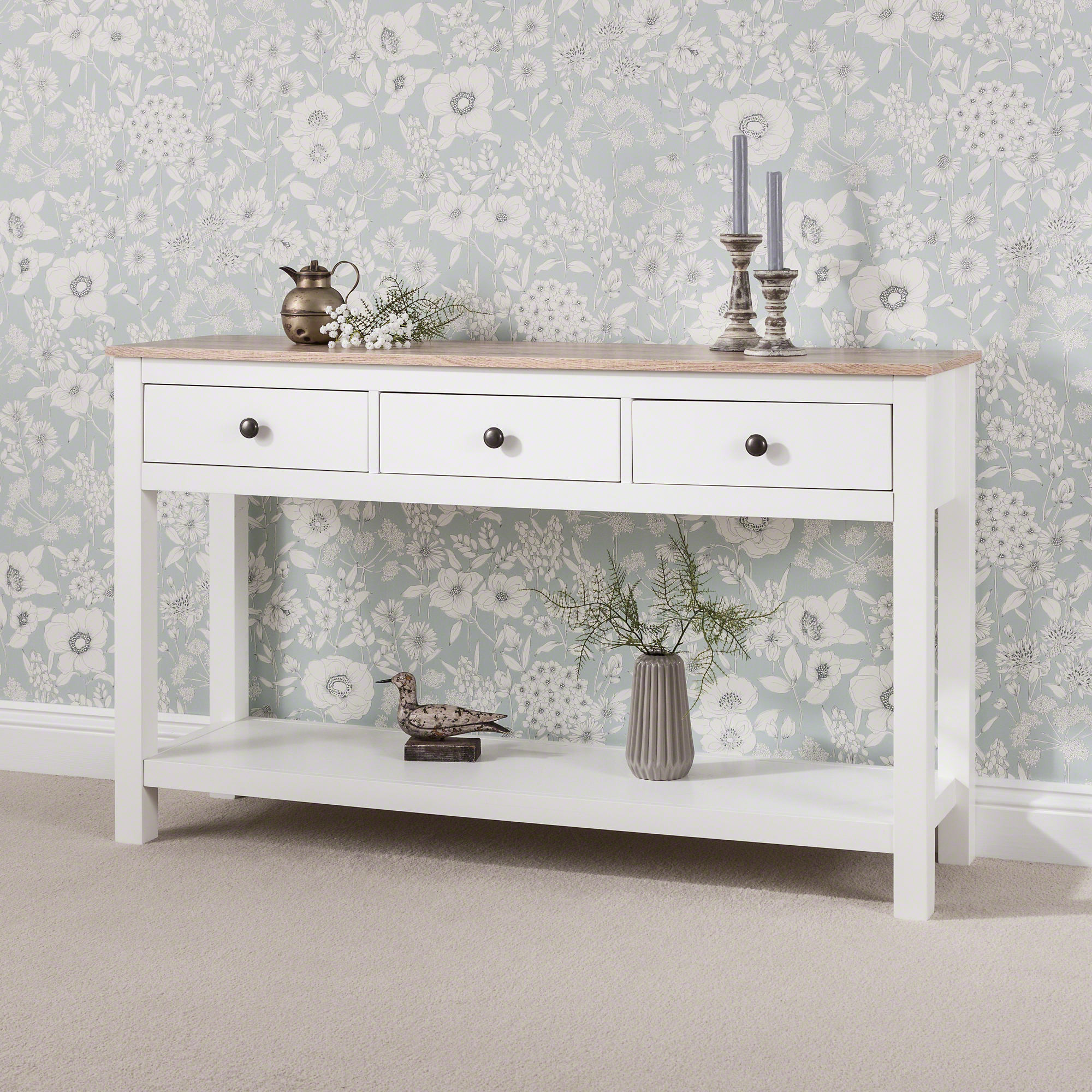 Details About Laura James White Console Table With 2 U0026 3 Drawers And Shelf