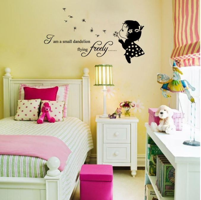 Wall Stickers Removable Cute Small Dandelion Girl Living Room Decal ...