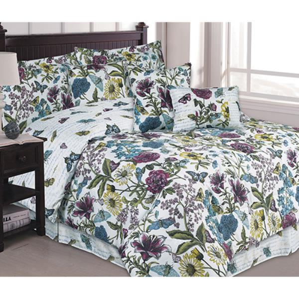 twin full queen king bed purple green floral butterfly 7pc comforter set bedding ebay. Black Bedroom Furniture Sets. Home Design Ideas