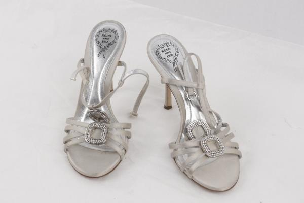 48af02bd6c9 Authentic RODO Gray Satin EMBELLISHED Sandals HEELS Pumps SHOES Size ...