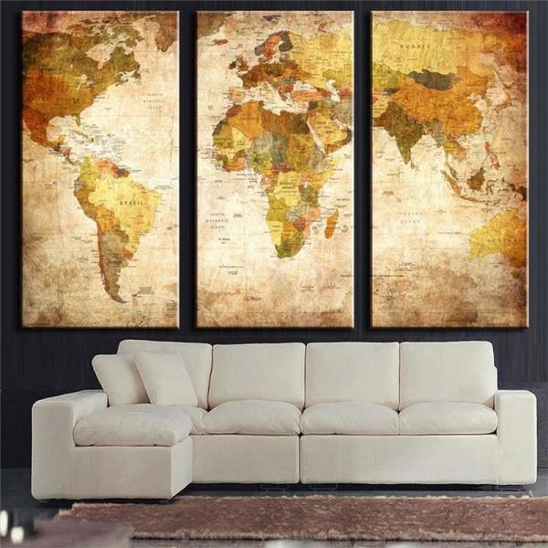 Vintage world map wall art home decor canvas panel print framed 50cmx100cmx 3pc 20 x 39 x 3pc no framed canvas only gumiabroncs Gallery
