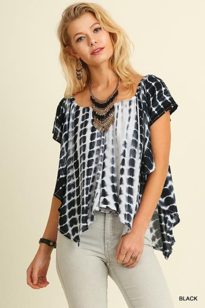 UMGEE striped boat neck ruffle short sleeve casual top