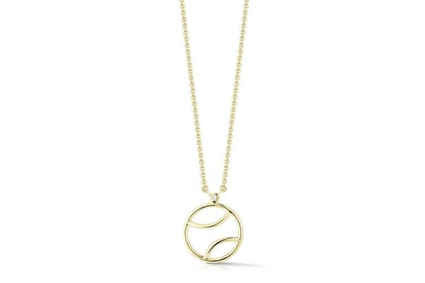 Af jewelers tennis ball pendant necklace with 1 diamond gold af jewelers tennis ball pendant necklace with 1 diamond gold plated silver aloadofball Image collections