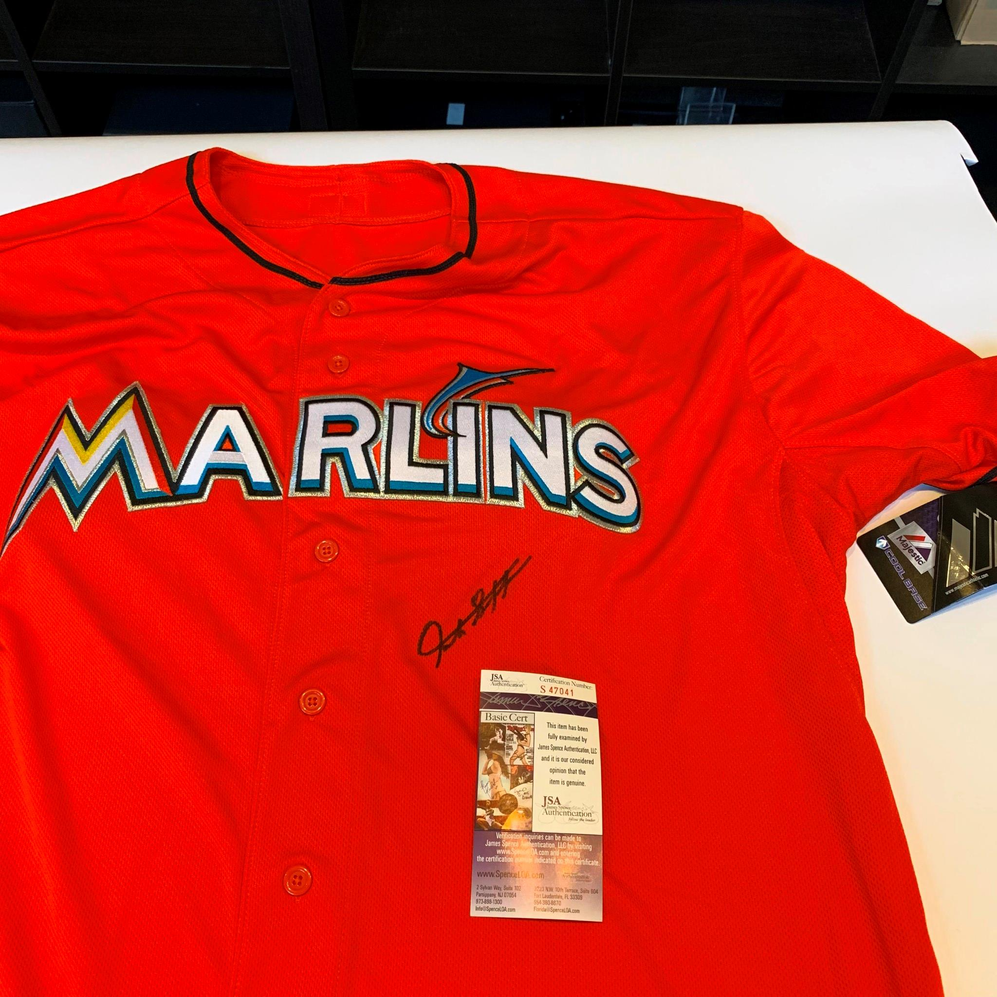 best website 30ed9 29fa5 Details about Giancarlo Stanton Signed Authentic Majestic Miami Marlins  Jersey With JSA COA