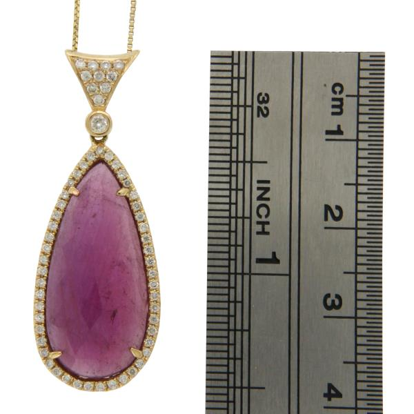 Luxo Jewelry News Letter - Premium Jewelry - Pear Sliced 11.43CT Pink Sapphire 0.37 CT Diamonds 14K Yellow Gold Necklace