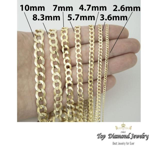 14k Authentic Solid Yellow Gold Curb Cuban Link Chains 1 5mm To 7mm Size 16 36 Ebay