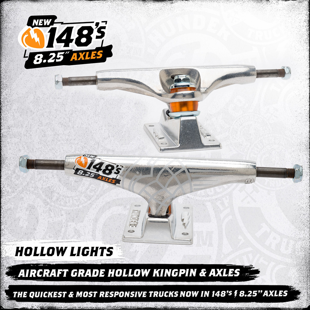Thunder Skateboard Trucks Hollow Lights 148 Polished 8.25 Axle FREE POST
