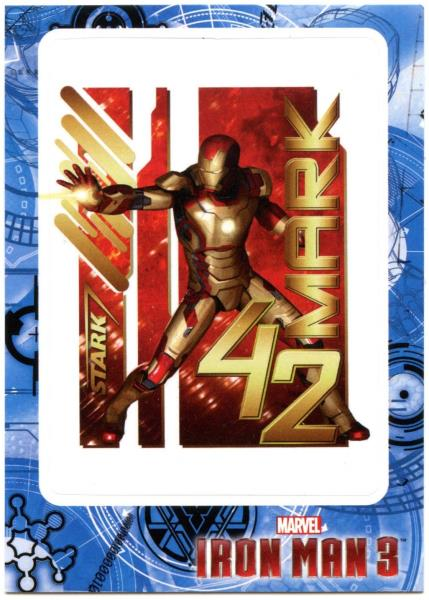 Stark Mark 42 #IM3-31 Iron Man 3 UpperDeck 2013 Marvel Trade Card Sticker C2071A
