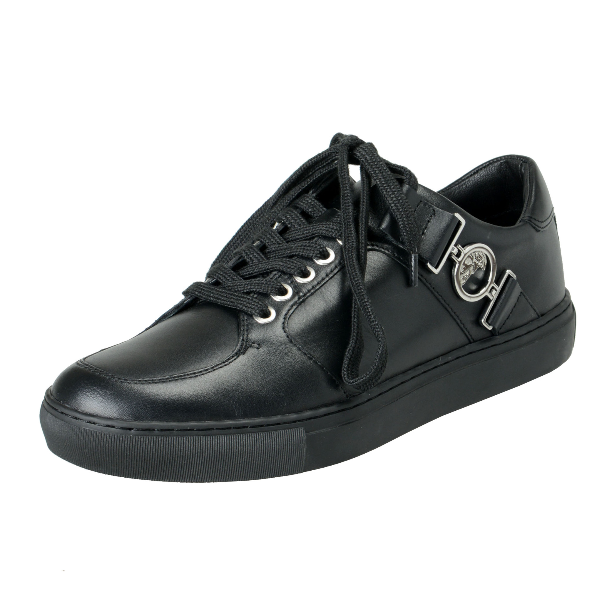 Black Leather Fashion Sneakers Shoes 6