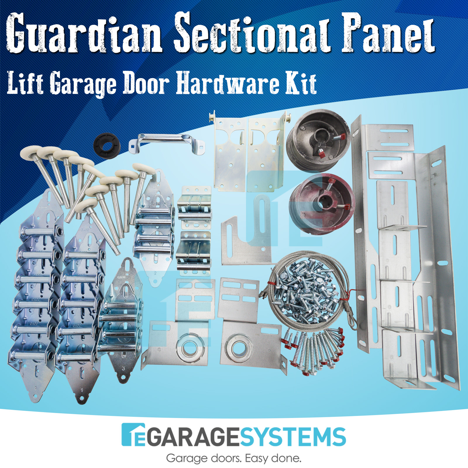 Sectional Panel Lift Double Garage Door Hardware Kit 14GA