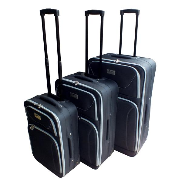 d954e282cc Details about SLAZENGER SET OF 3 LIGHTWEIGHT 2 WHEELED SUITCASES CABIN HAND LUGGAGE  CASE