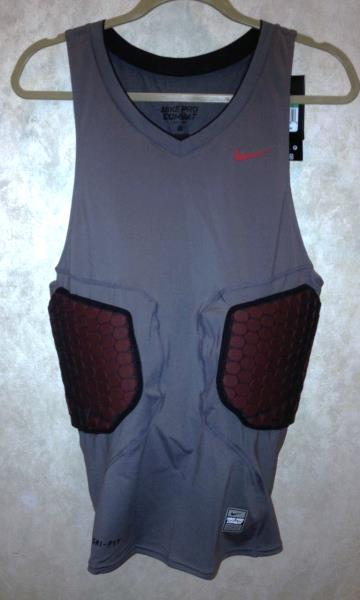 5974cc837fa82c Details about NIKE Pro Combat Deflex Padded Grey Red Basketball Compression  Shirt Tank XL 2XL