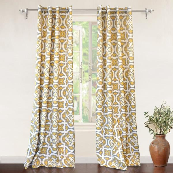 Window Curtains Gray And Yellow: Set 2 Yellow Gray Grey White Geometric Curtains Panels