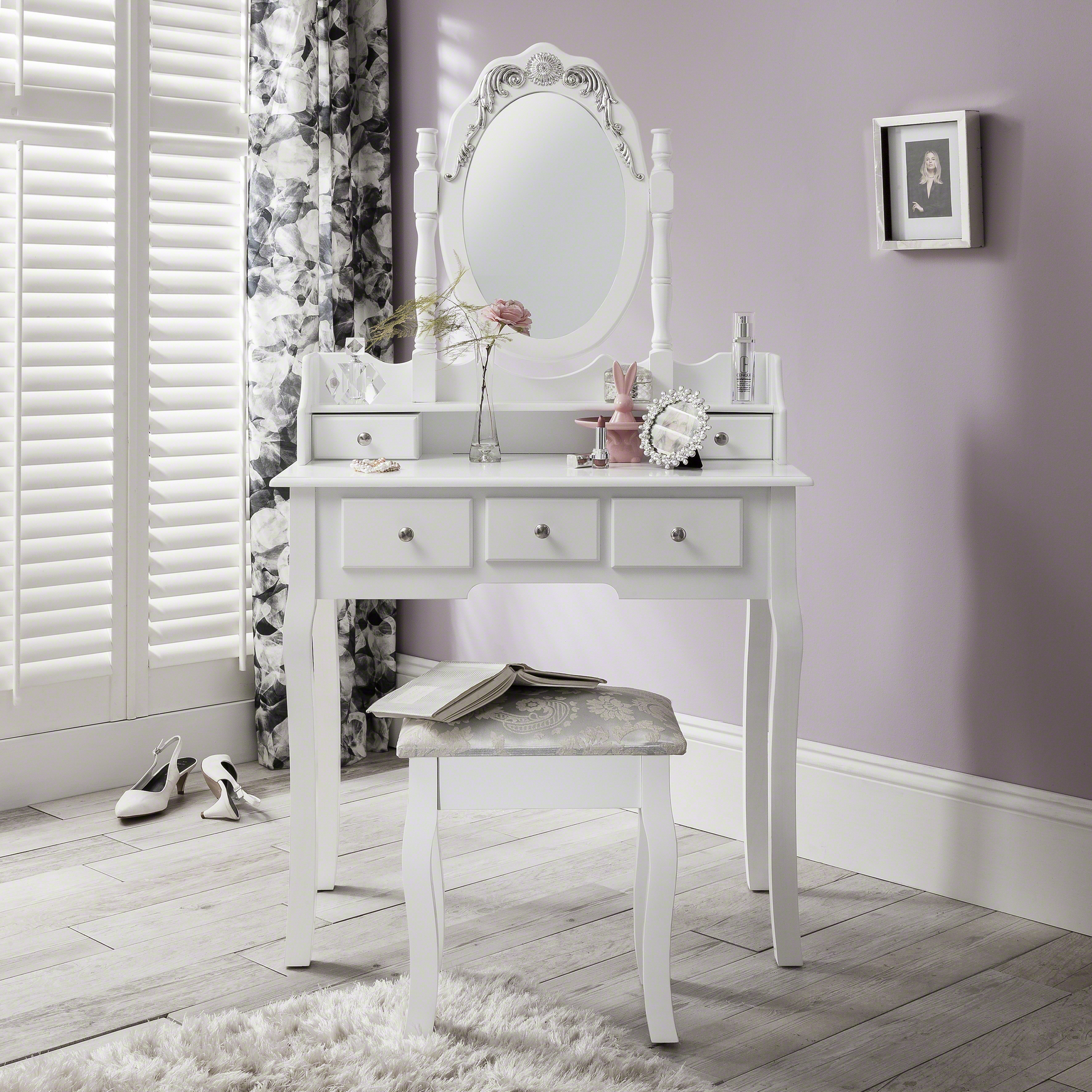 Capri White Dressing Table Mirror and Stool Set Dresser | eBay