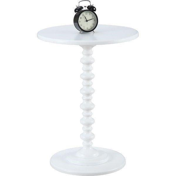 White Painted Spindle Accent Table Round Top End Side Pedestal Wooden Furniture