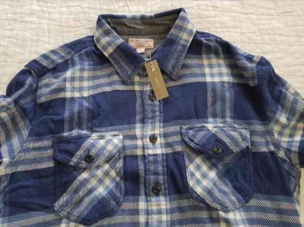 Men's Clothing Wallace & Barnes Heavyweight Flannel Shirt In Stable Plaid Dark Moss Size Large Casual Button-down Shirts