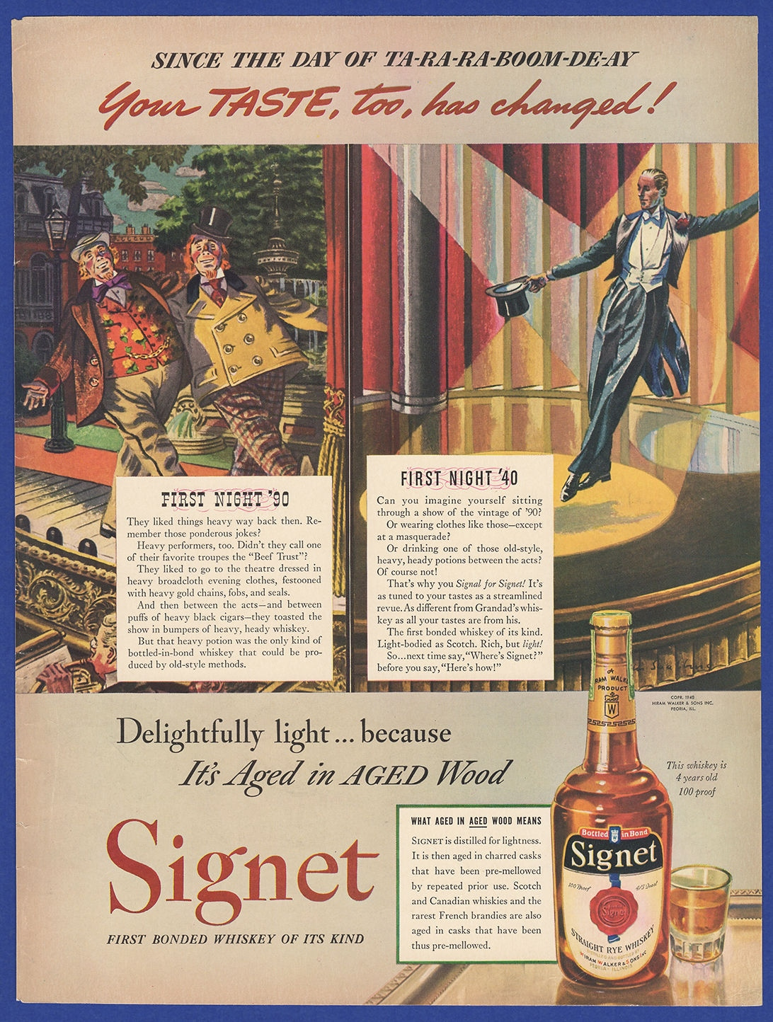 Details about Vintage 1940 SIGNET Bonded Rye Whiskey Alcohol RARE 1940's  Art Deco Print Ad