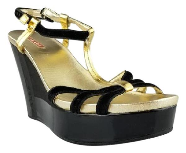 867a01c9aa Details about Prada Black Velvet and Gold T Strap Wedges size 10 $395