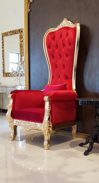 Chair   High Back Chair   Queen High Back Chair   Red Leather W/ Gold Frame