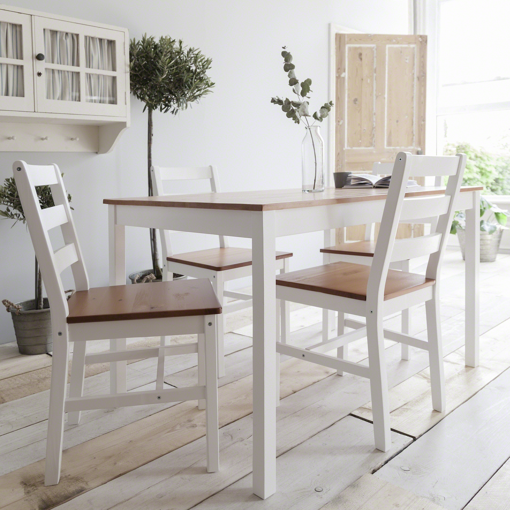 White wooden dining table and 4 chairs set ebay for Small white dining table set