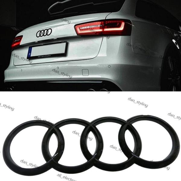 Details about Black Glossy Rear Boot Badge Rings Logo Emblem for Audi  216x75mm Q3 Q5 Q7 A1 A6