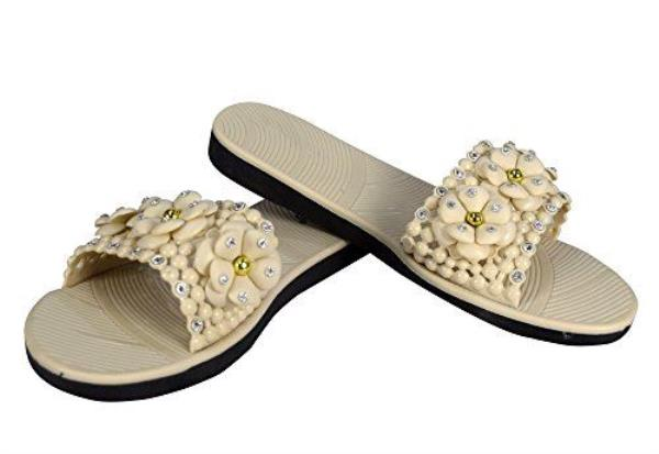 5734a0fc6fecd8 Details about Peach Couture Cute Floral Studded Summer Sandals Slip On  Slides Flats