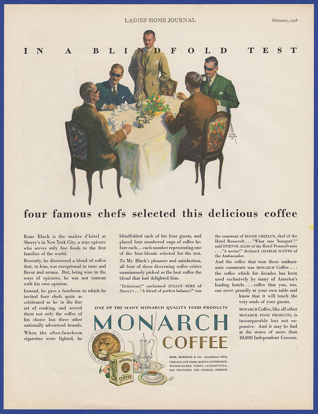 Vintage 1928 MONARCH Coffee Blindfold Test Kitchen Art Decor