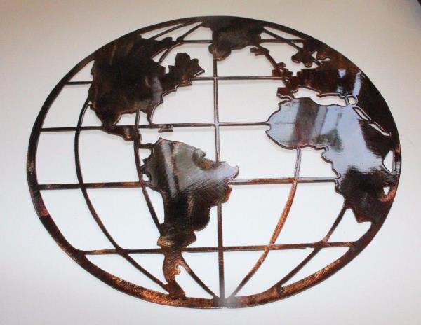 Metal art world globe map copperbronze metal wall art decor 16 ebay powered by ebay turbo lister the free listing tool list your items fast and easy and manage your active items gumiabroncs Gallery