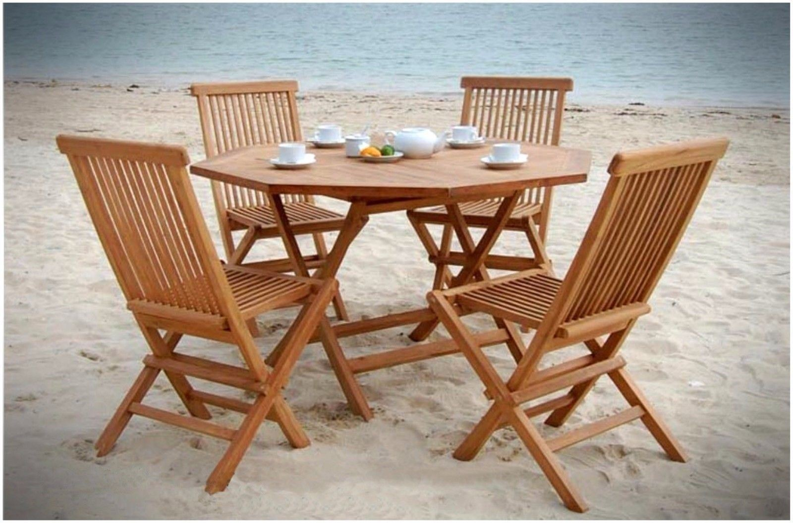 Garden 120cm Solid Teak Wood Folding Table 4 Chairs Set Wooden