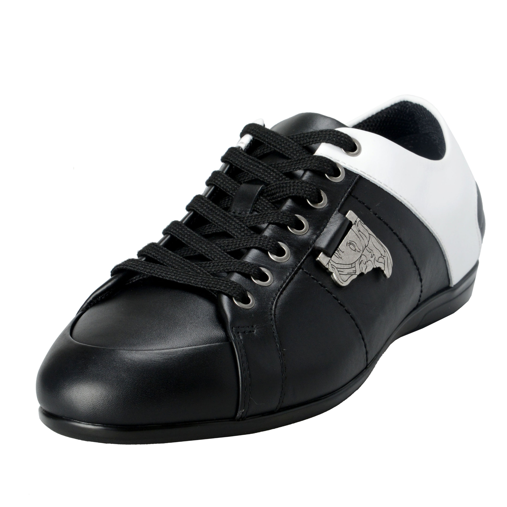 Details about Versace Collection Men's TwoTone Leather Fashion Sneakers  Shoes 6 7 8 9 10 11 12