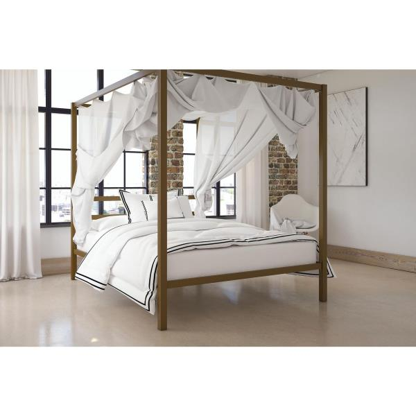 Details about Full Size Dark Gold Metal Canopy Bed Frame Headboard Modern  Bedroom Furniture