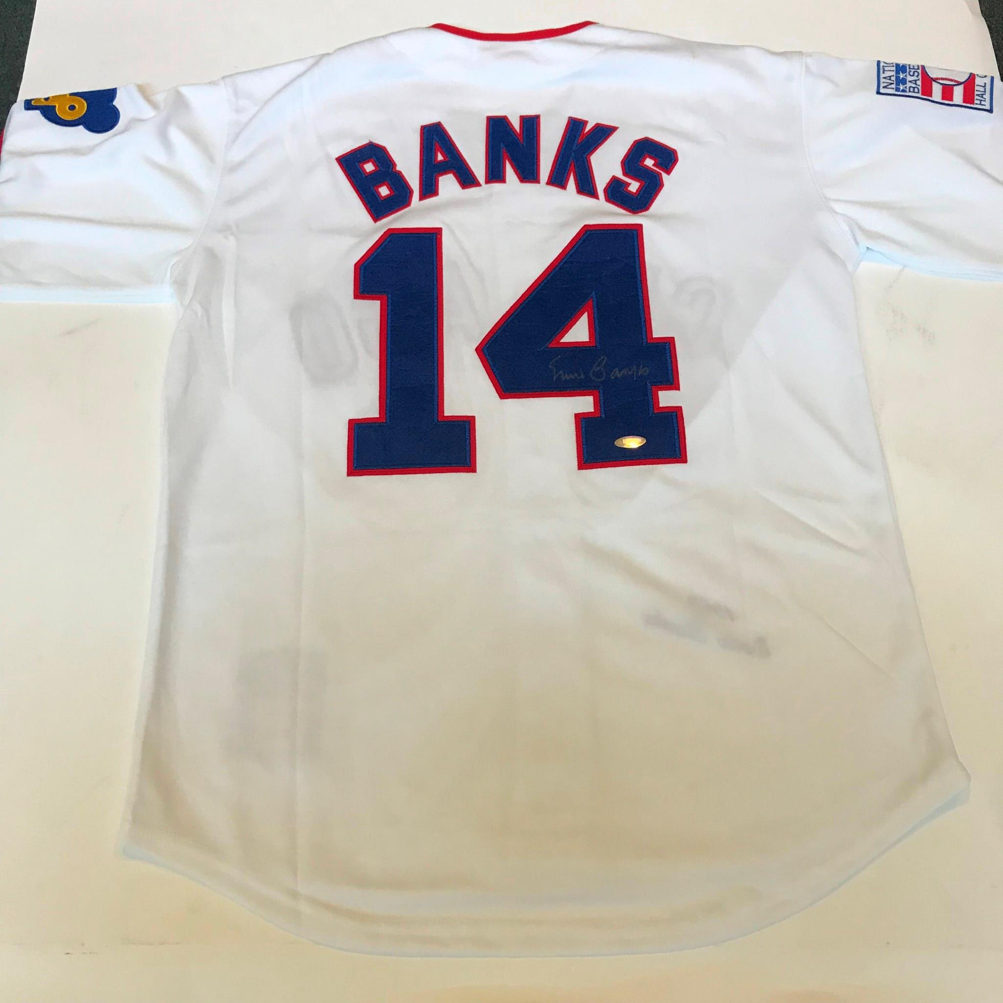 timeless design f6ef4 b23a1 Details about Ernie Banks Signed Authentic 1968 Mitchell & Ness Chicago  Cubs Jersey Tristar