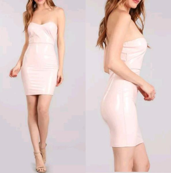 b9c70450683 Wet Look Latex Strapless Bodycon Dress - Light Pink. Sexy wet look faux  patent leather strapless bodycon dress in pretty light pink ...