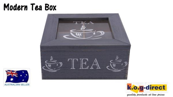 WOODEN MODERN TEA BOX CONTAINER GLASS LID WITH 4 DIVISIONS HOLDS 40 BAGS HW-203B  sc 1 st  eBay & WOODEN MODERN TEA BOX CONTAINER GLASS LID WITH 4 DIVISIONS HOLDS ... Aboutintivar.Com