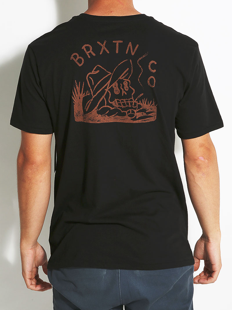 Brixton Pocket Tee Marooned Black FREE POST New Skateboard T-Shirt