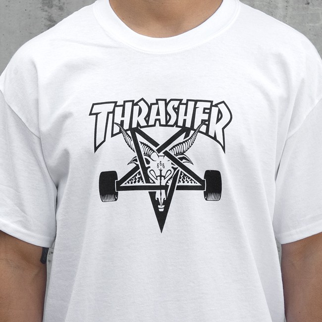 Thrasher Tee Skate Goat White FREE POST New Mens Skateboard Magazine Premium T-Shirt kingpin skate supply