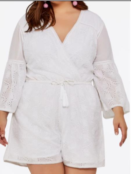 b42a27fba56 New SOLD OUT Ashley Stewart Eyelet Bell Sleeve Romper 14