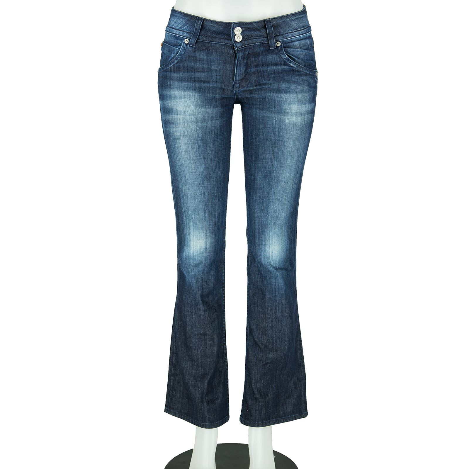 f62dd73e3e0 Hudson Dark Blue Denim Washed Zip Fly Signature Petite Boot Cut Jeans Size  28