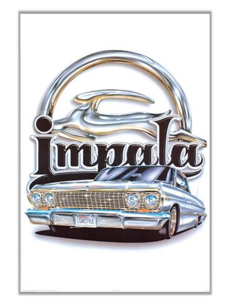 Chevy Impala Lowrider With Logo Poster Print Art Chevrolet American Classic Cars