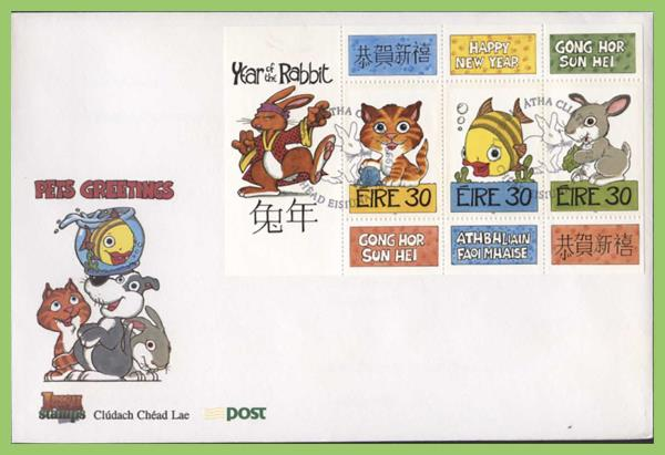 ireland 1999 chinese new year year of the rabbit ms on first day cover - Chinese New Year 1999