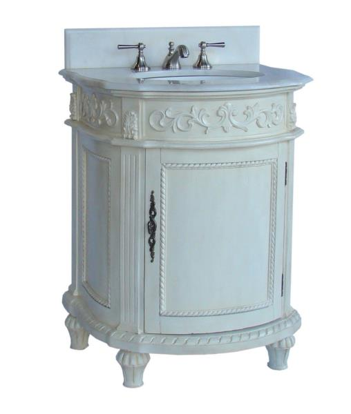 Charmant Details About 26u201d CATALINA ANTIQUE WHITE BATHROOM SINK VANITY W/ WHITE  MARBLE TOP #CF 4408W