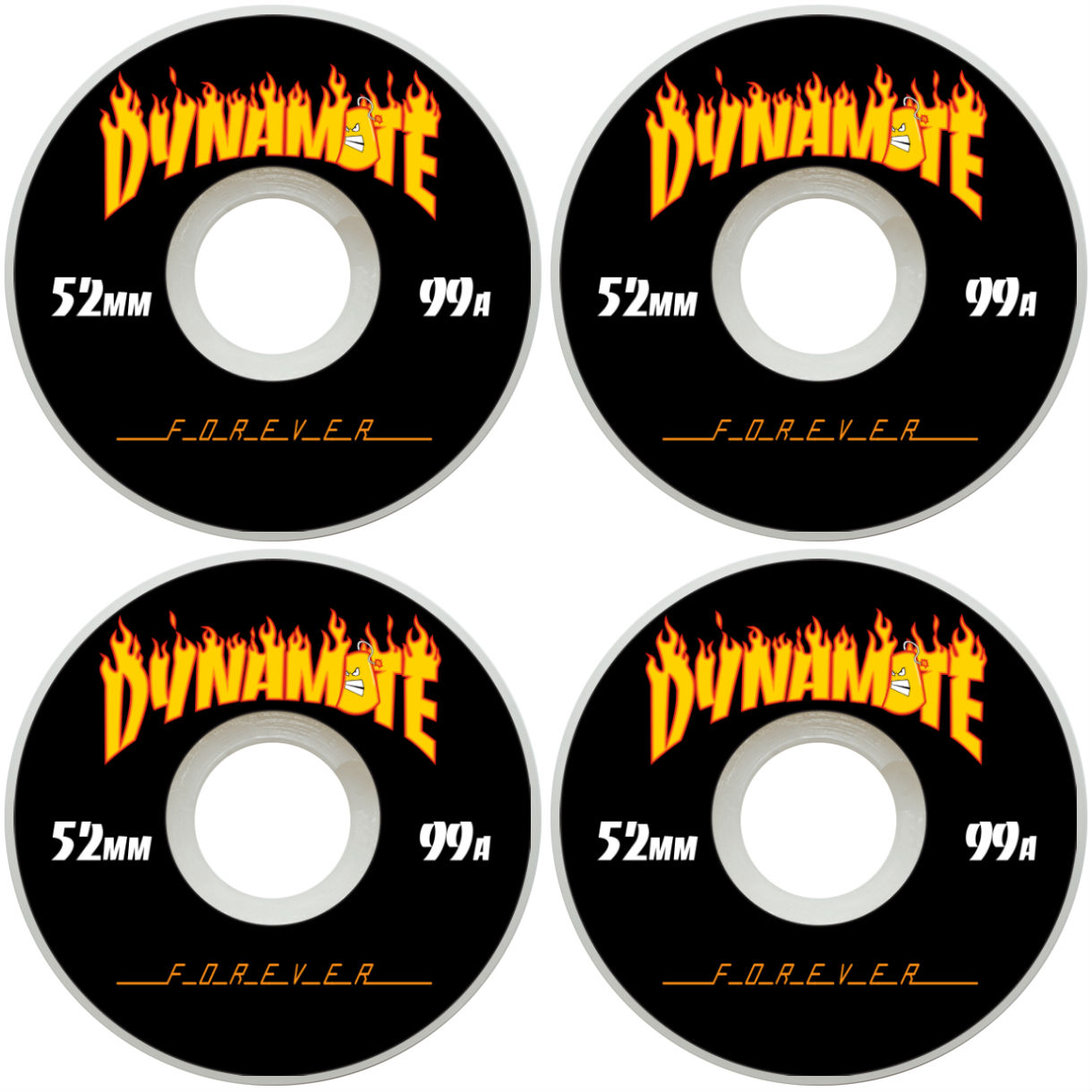 Dynamite Skateboard Wheels 52mm Thrashed Fire 99a New FREE POST