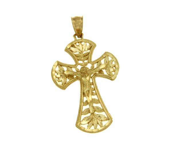 Luxo Jewelry News Letter - High Quality Premium Jewelry - ¦Solid 14k Gold Jesus Crucifix 45 mm Height Diamond Cut Cross Pendant »G111
