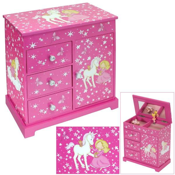ba9fcfefb4c1 Details about MELE & CO GIRLS LARGE PINK MUSICAL UNICORN JEWELLERY &  TRINKET BOX WITH MIRRORS