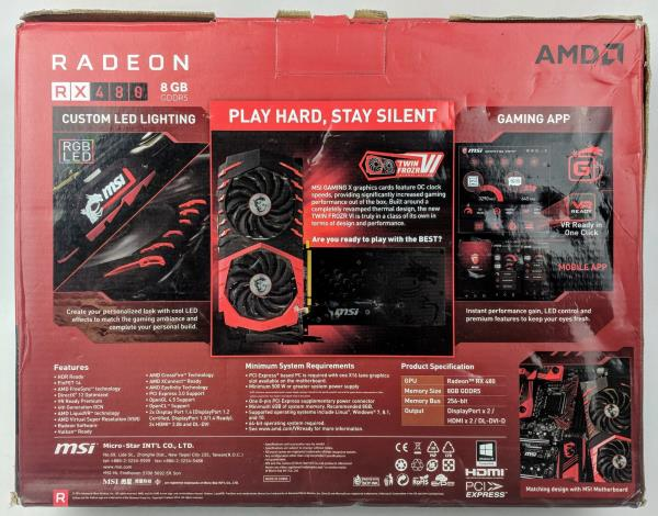 Details about MSI Gaming X Radeon RX480 8 GB Graphics Card DX12 AMD VR  Ready G5