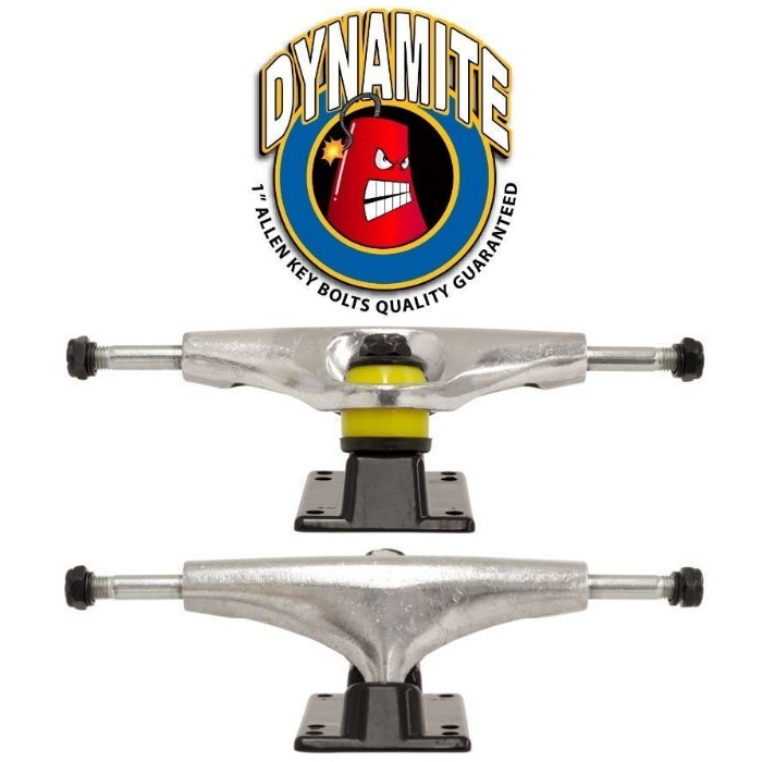 Dynamite Forever Skateboard Trucks 5.0 Stealth Black Raw Silver New Free Post